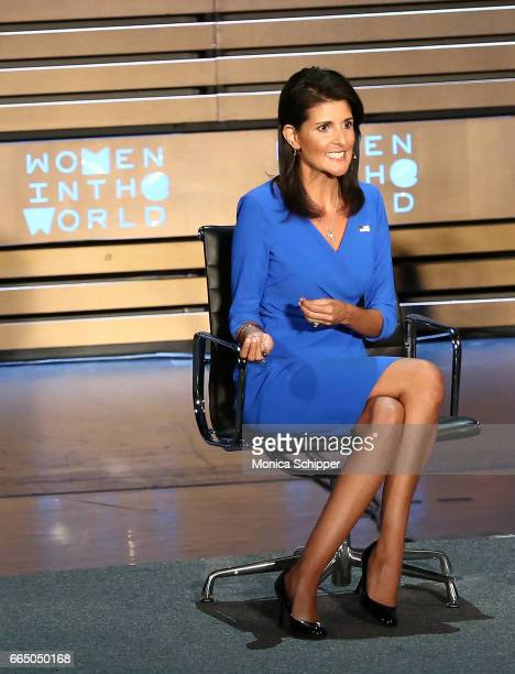 United States Ambassador to the United Nations Nikki Haley speaks on stage at the 8th Annual Women In The World Summit at Lincoln Center for the...