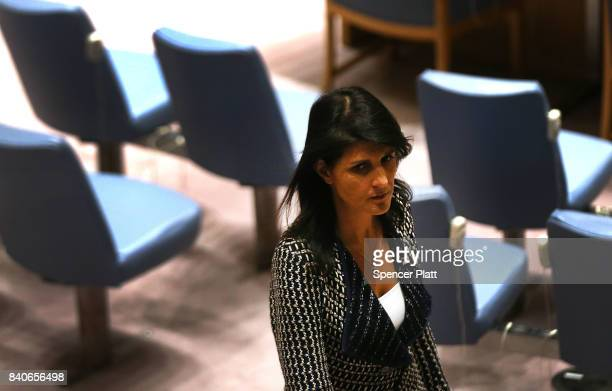 United States ambassador to the United Nations Nikki Haley walks into a UN Security Council emergency meeting over North Korea's latest missile...