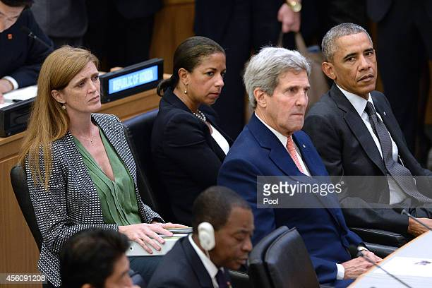 United States Ambassador to the United Nations Samantha Power US National Security Advisor Susan E Rice US Secretary of State John Kerry and US...