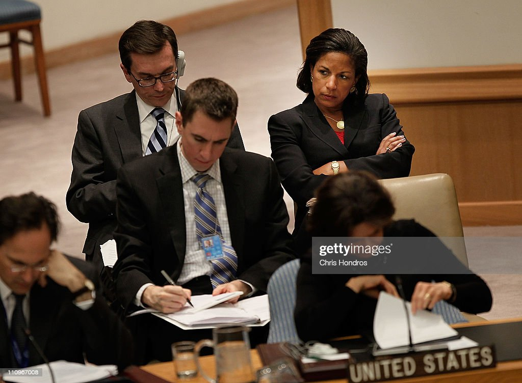 United States ambassador to the United Nations Susan Rice (upper right) sits among the rest of the US delegation during a consultation meeting on the situation in Libya at United Nations Headquarters March 28, 2011 in New York City. The UN Security Council is reviewing the sanctions it imposed on Libya as NATO takes command of military operations against Libyan military.
