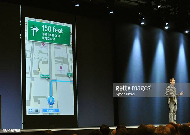 SAN FRANCISCO United States An Apple Inc executive introduces the new car navigation function of Apple's portable devices at the company's Worldwide...