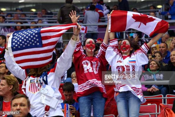 United States and Canada fans attend the Men's Ice Hockey Semifinal Playoff between Canada and the United States on Day 14 of the 2014 Sochi Winter...