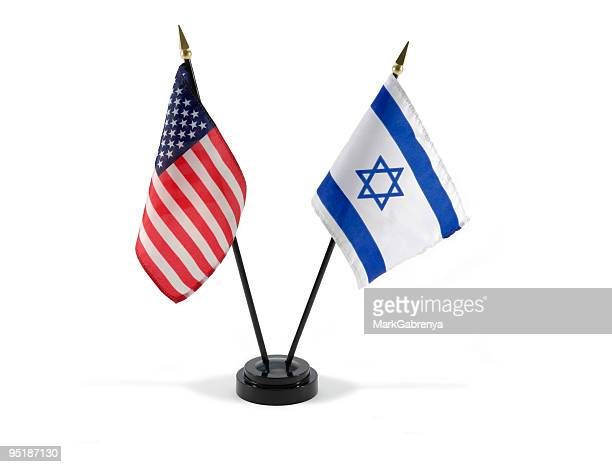 United States and Israel flags isolated