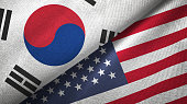 United States and South Korea flag together realtions textile cloth fabric texture