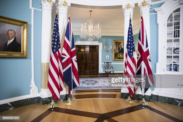 United States and United Kingdom flags are set up for a photo opportunity with US Secretary of State Rex Tillerson and UK Secretary of Foreign...