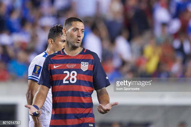 United States argues a call with the referee forward Clint Dempsey during a CONCACAF Gold Cup Quarterfinal match between the United States v El...