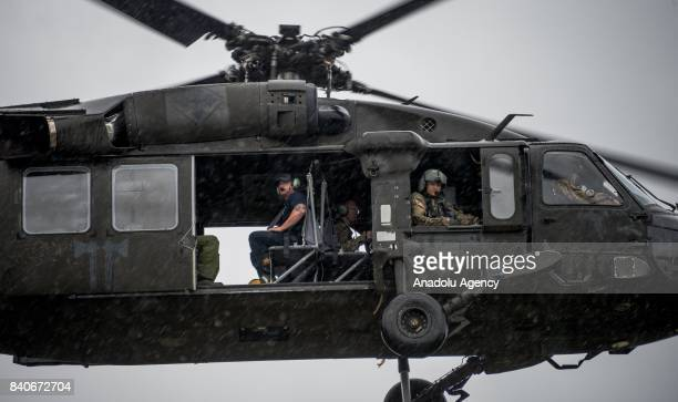 United States Army and MCHD EMS joined forces take off to go respond to 911 calls during hurricane Harvey in Humble TX United States on August 29 2017