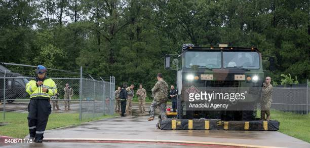 United States Army and the Montgomery County Hospital Disctrict join forces to help during hurricane Harvey in Humble TX United States on August 29...