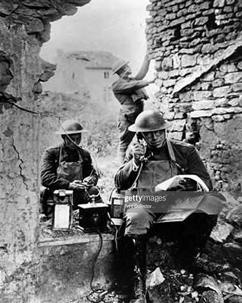 United States Army Signal Corps using captured German telephone equipment, World War 1. Photograph. Signal Corps Museum, Fort Monmouth, New Jersey.