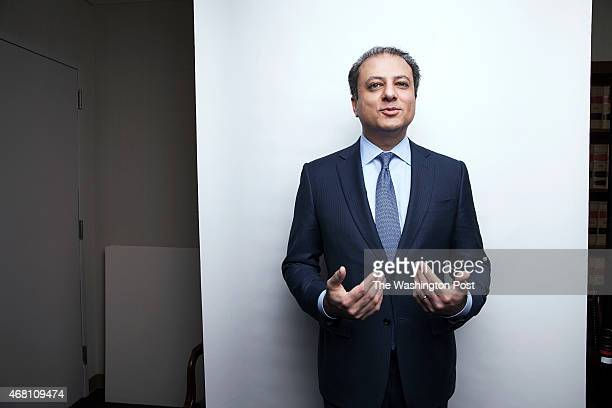 United States Attorney for the Southern District of New York Preet Bharara sits for a portrait in his lower manhattan office library in New York NY...