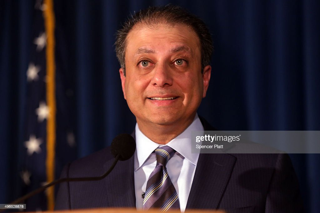 United States Attorney for the Southern District of New York Preet Bharara speaks at a news conference where he announced charges against three...
