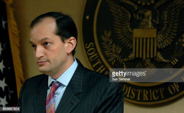 United States Attorney R Alexander Acosta holds a press conference to announce charges against former Palm Beach County Commissioner Warren Newell on...