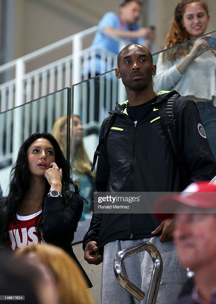 United States basketball player <a gi-track='captionPersonalityLinkClicked' href=/galleries/search?phrase=Kobe+Bryant&family=editorial&specificpeople=201466 ng-click='$event.stopPropagation()'>Kobe Bryant</a> attends the swimming finals session on Day 8 of the London 2012 Olympic Games with his wife <a gi-track='captionPersonalityLinkClicked' href=/galleries/search?phrase=Vanessa+Bryant&family=editorial&specificpeople=217496 ng-click='$event.stopPropagation()'>Vanessa Bryant</a> at the Aquatics Centre on August 4, 2012 in London, England.