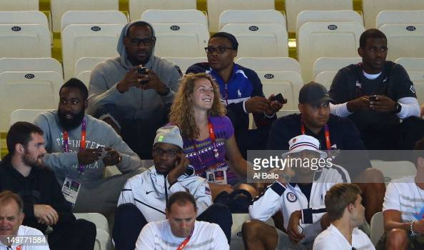 United States Basketball players Kevin Love James Harden LeBron James Kevin Durant Russell Westbrook Andre Iguodala and Chris Paul attend the night...