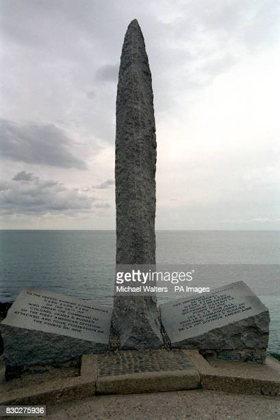 A United States Battle monument overlooking Omaha Beach in Normandy France which was the inspiration for the Steven Spielberg film 'Saving Private...