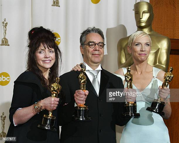 Best Adapted Screenplay winner Fran Walsh Best Original Score winner Howard Shore and Best Original Song winner Annie Lennox pose with their Oscars...