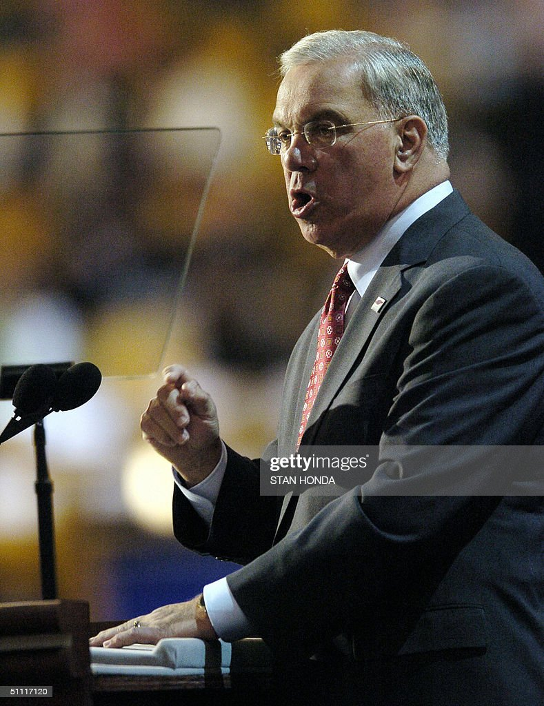 Boston Mayor Thomas M. Menino speaks to the Democratic National Convention 26 July, 2004, at the FleetCenter in Boston, Massachusetts. US Democrats opened their four-day national convention in which delegates will formally nominate Senator John Kerry to challenge US President George W. Bush for the White House in the 02 November vote. AFP PHOTO/STAN HONDA