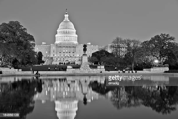 United States Capitol - Black and White with Reflection