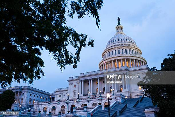 United States Capitol building in Washington DC at night time