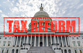 United States Capitol Building in Washington, DC with Tax Reform stamp effect