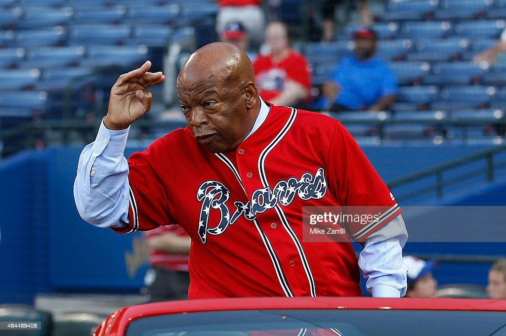 United States Congressman John Lewis is honored before the game between the New York Mets and the Atlanta Braves at Turner Field on June 19, 2015 in Atlanta, Georgia.