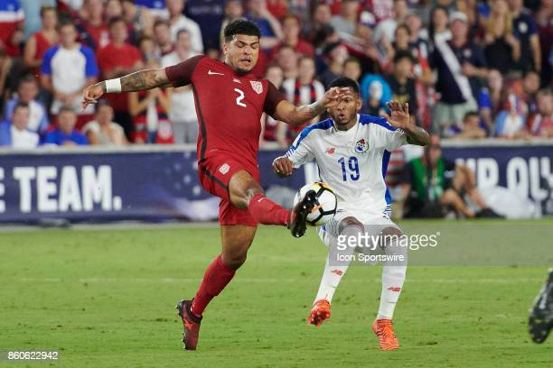 United States defender DeAndre Yedlin battles with Panama midfielder Alberto Quintero during the World Cup Qualifying match between the the United...