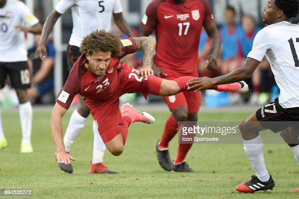 United States defender Fabian Johnson looses his balance and leaps into the air during the FIFA 2018 World Cup Qualifier match between the United...