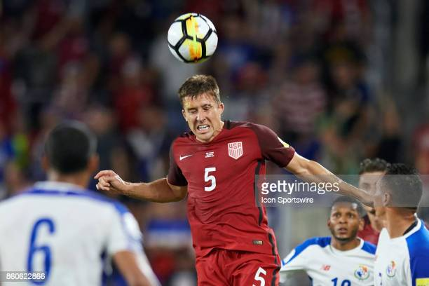 United States defender Matt Besler heads the ball during the World Cup Qualifying match between the the United States and Panama on October 6 2017 at...