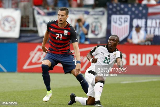 United States defender Matt Hedges keeps close tabs on Ghana forward Majeed Abdul Waris during an international friendly between the United States...