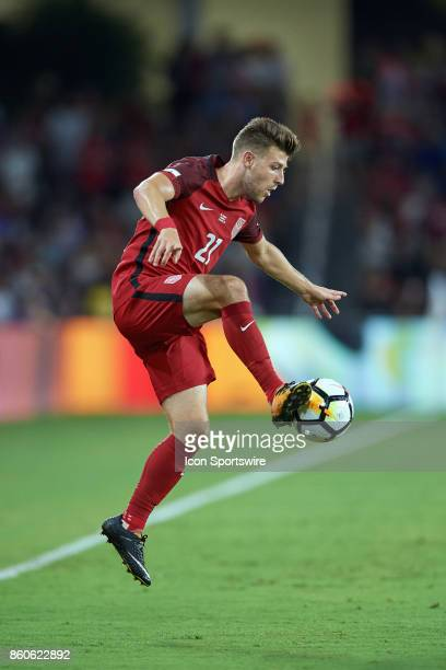 United States defender Paul Arriola traps the ball from the air during the World Cup Qualifying match between the the United States and Panama on...
