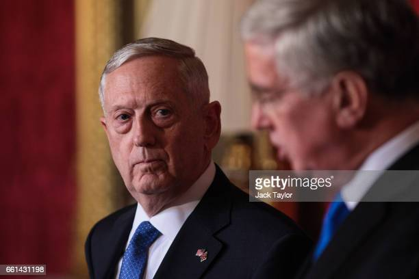 United States Defense Secretary James Mattis holds a press conference with British Defence Secretary Michael Fallon at Lancaster House on March 31...