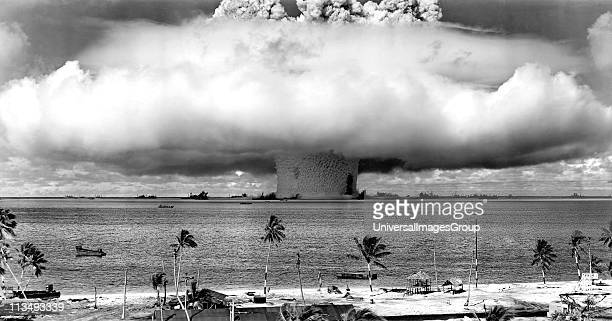 United States detonating an atomic bomb at Bikini Atoll in Micronesia in the first underwater test of the device 1946