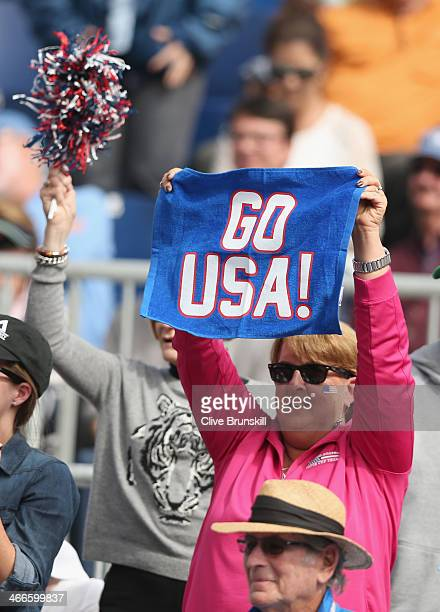 United States fan cheers on Sam Querrey of the United States as he plays against Andy Murray of Great Britain during day three of the Davis Cup World...