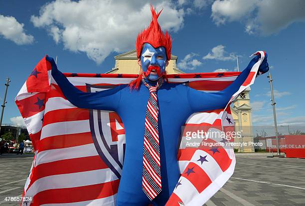 United States fan cheers outside the stadium before the match against China in the FIFA Women's World Cup 2015 Quarter Final match at Lansdowne...