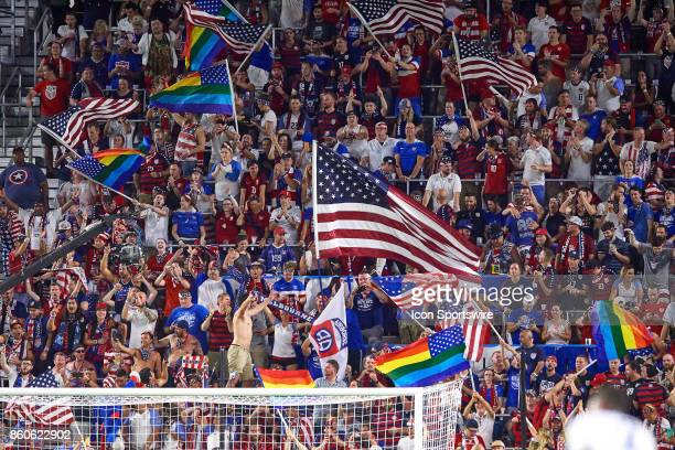 United States fans celebrate after a goal during the World Cup Qualifying match between the the United States and Panama on October 6 2017 at Orlando...