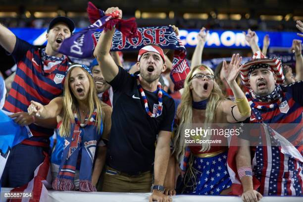 United States fans celebrate during the CONCACAF Gold Cup Final match between the United States v Jamaica at Levi's Stadium on July 26 2017 in Santa...