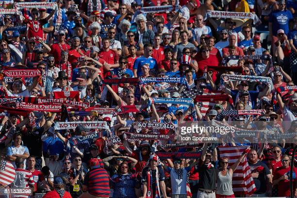 United States fans hold up there soccer scarfs and banners during a CONCACAF Gold Cup Group B match between the United States v Panama at Nissan...