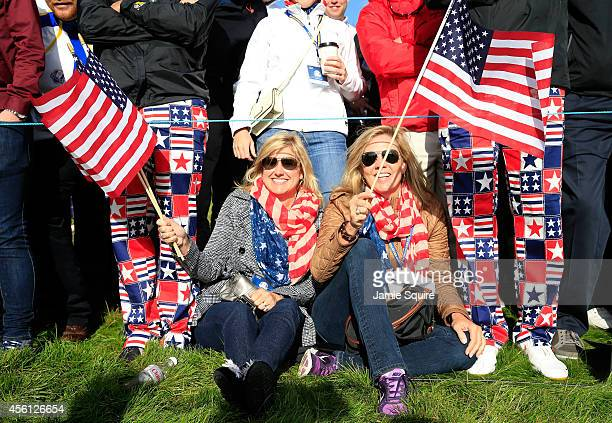 United States fans wave the Stars and Stripes flag during the Morning Fourballs of the 2014 Ryder Cup on the PGA Centenary course at the Gleneagles...