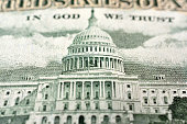 United States fifty dollar bill with the United States Capitol building close up