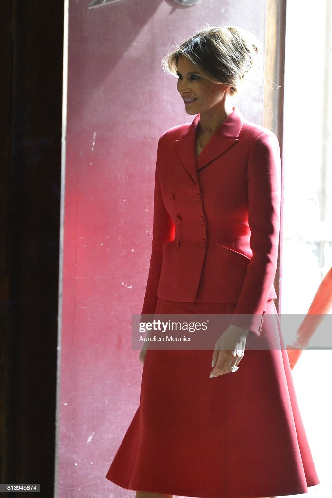 United States First Lady Melania Trump arrives to visit Notre Dame Cathedrale on July 13, 2017 in Paris, France. The United States of America President Donald Trump and his wife are on a 2 day visit to Paris.