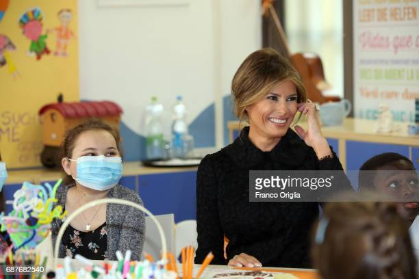 United States First Lady Melania Trump visits the Pediatric Hospital Bambin Gesu on May 24 2017 in Vatican City Vatican The President Trump and Fist...