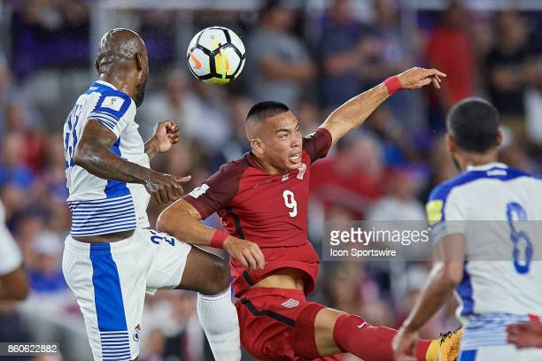 United States forward Bobby Wood battles with Panama defender Felipe Baloy for a header during the World Cup Qualifying match between the the United...
