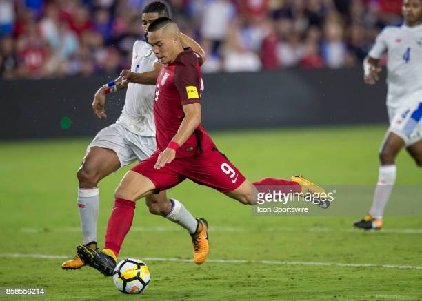 United States forward Bobby Wood shoots the ball on goal during the World Cup Qualifier soccer match between the USA Mens National Team and Panama...