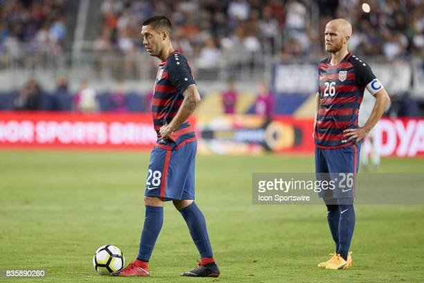 United States forward Clint Dempsey and United States midfielder Michael Bradley look on during the CONCACAF Gold Cup Final match between the United...