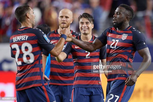 United States forward Clint Dempsey celebrate with United States forward Jozy Altidor during the CONCACAF Gold Cup Final match between the United...