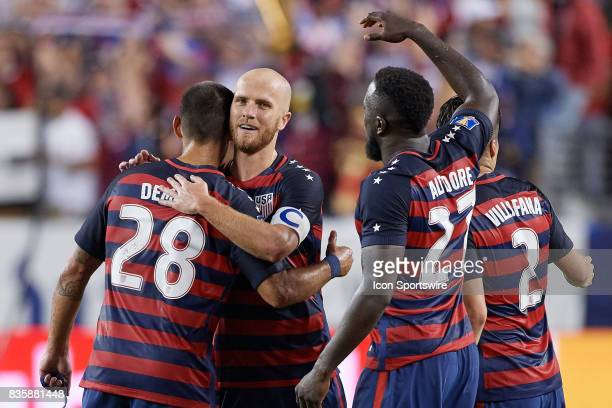 United States forward Clint Dempsey celebrate with United States forward Jozy Altidor and United States midfielder Michael Bradley during the...