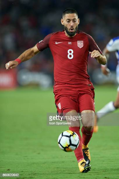 United States forward Clint Dempsey chases a loose ball during the World Cup Qualifying match between the the United States and Panama on October 6...