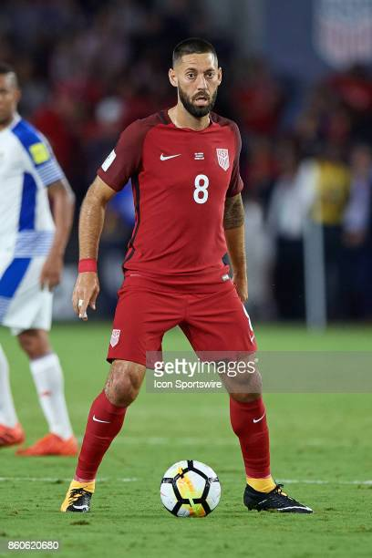United States forward Clint Dempsey controls the ball during the World Cup Qualifying match between the the United States and Panama on October 6...