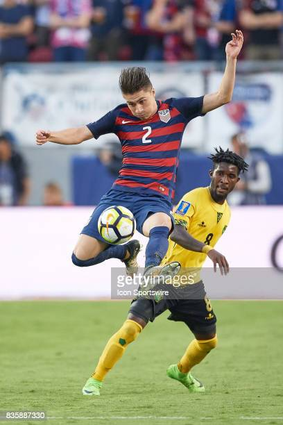 United States forward Jordan Morris battles with Jamaica midfielder Oniel Fisher for the ball during the CONCACAF Gold Cup Final match between the...