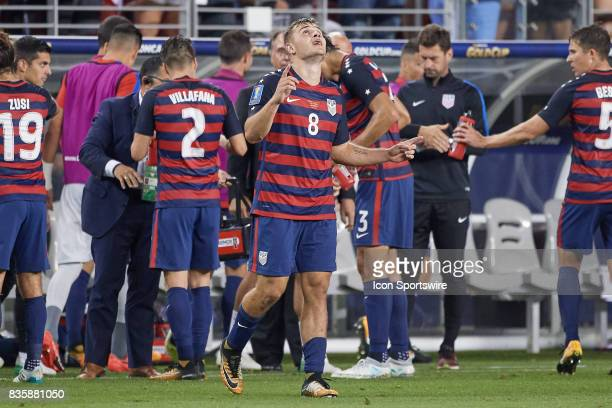 United States forward Jordan Morris celebrates after scoring a goal during the CONCACAF Gold Cup Final match between the United States v Jamaica at...